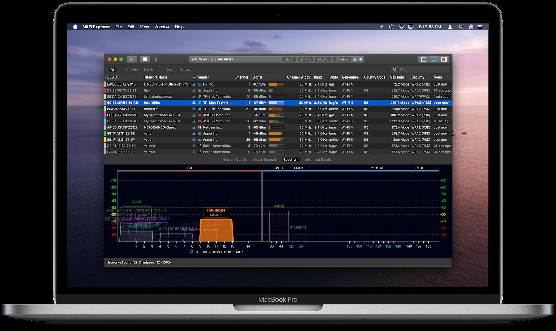 WiFi Explorer running on a MacBook Pro in dark mode